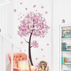 Pink butterfly flower Tree Wall Stickers Decals Girls Women Flower Mural Vinyl Wallpaper Home Living Room Bedroom Decor Wall Stickers Living Room, Diy Bedroom Decor For Girls, Vinyl Wallpaper, Wall Stickers Home, Tree Wall Stickers, Flower Mural, Butterfly Wall, Sticker Wall Art, Kid Room Decor