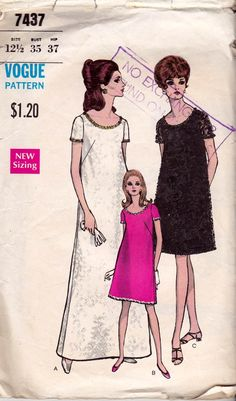 1960s Half Size Evening Gown Pattern Vogue 7437 A Line Cocktail Dress Prom Bridesmaids Vintage Sewing Pattern Size 12 1/2 Bust 35 inches