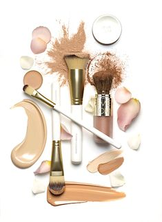 """Design. White and Nude on White. Placement. Shot from above to see all products. Textures and highlights from lighting. Shadows going down, providing """"grounding"""" for the products. Clean!"""