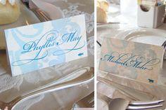 Rosita Designs: #custom #placecards #teal #rehearsal dinner #wedding #flourish #menu