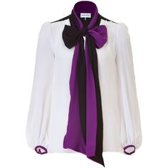 EMILIO PUCCI White Silk Top with Amethyst Collar ($510) ❤ liked on Polyvore featuring tops, blouses, shirts, blusas, white puff sleeve blouse, tie neck blouse, neck ties, white tie neck blouse e silk neck ties