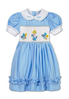 Baby, Girls Hand Smocked Hand Embroidered Blue  Cinderella  Dress.6m12m,24m3y4y