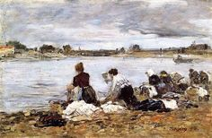 Laundresses on the Banks of the Touques - Eugene Boudin