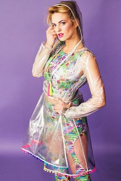6cd46383570 Iridescent Glitter Clear Plastic Raincoat