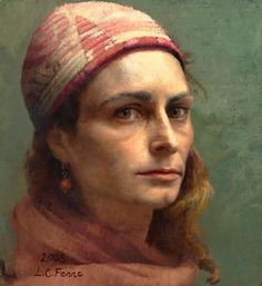 Louise C. Fenne - Self-portrait with Cap. Louise Fenne was born in Copenhagen, Demark in 1972. She studied art in Florence, Denmark and France from 1992 - 1997. Since 1999  Fenne has maintained a studio in Svendborg, Denmark, where she lives with the painter Charles Weed and their 2 children. She exhibits frequently in Europe and the United States.