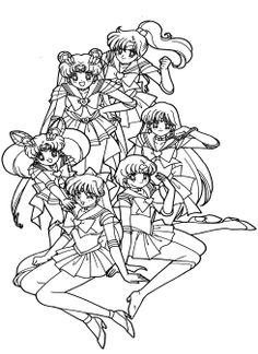 sailor moon really like with her friend coloring page for kids