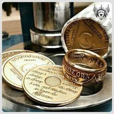 Sobriety Coin Ring. ..find us on Etsy.com/shop/BFGCustomCoinRings for awesome.deals !! #proudamerican #coin  #coinrings #BFGCustomCoinRings #gifts #wedding #bands #jewelry #America #etsy #barbercoin #silvermorgan #2ndamendment #donttreadonme #handmade #copper #walkingliberty #mayan #silver #usquarter #irishpride #aa #sober #sobercoin #foreigncoin #someonespecial #copper #morgan  #HandmadeintheUSA