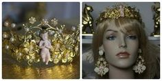 1227 Penina's Cherub Gold Metal Flower Pearl Bridal Headband