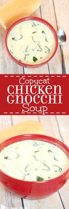 Copycat Olive Garden Chicken Gnocchi Soup Recipe- Chicken, gnocchi, and spinach in this creamy soup tastes just like the restaurant, right in your own home! It really does!