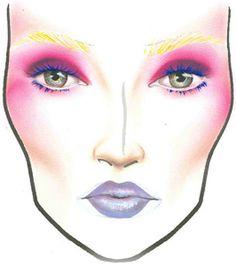"""The Hunger Games """"Effie Trinkett"""" MAC Makeup Face Charts for Halloween - more_make_up_pintennium Mac Makeup Looks, Best Mac Makeup, Best Makeup Products, Beauty Products, Makeup Kit, Eye Makeup, Makeup Ideas, Mac Face Charts, Makeup Face Charts"""