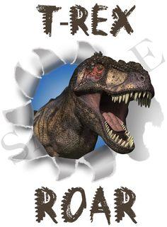 Dinosaur T-Rex Iron-On Transfer Personalized