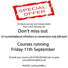 latest #forklift_training #offers from J & D Training Ltd 01384 895448