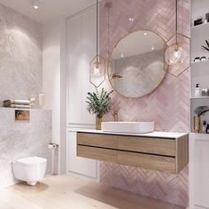 Modernes Badezimmer Modern pink bathroom vanity design, The va Bathroom Vanity Designs, Bathroom Interior Design, Bathroom Mirrors, Bathroom Cabinets, Bathroom Pink, Marble Bathrooms, Bathroom Goals, Bathroom Canvas, Boho Bathroom