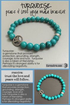 MANTRA: Trust the love and peace will follow. - 8mm Turquoise Round Natural Gemstones - 15mm Tibetan Silver PEACE Talisman Rondelle - 7mm Tibetan Silver LOVE Talisman Rondelle - Commercial Strength, L