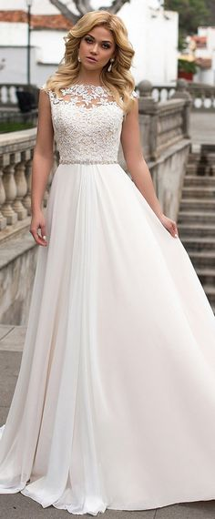 Graceful Tulle & Chiffon Bateau Neckline A-Line Wedding Dress With Lace Appliques & Beadings