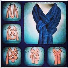 How to tie a knitted scarf! ...because I have no idea how to apparently! knitted scarves, tutorials, fashion, tying a scarf, ties, scarf styles, tie scarves, tie a scarf, scarf knots
