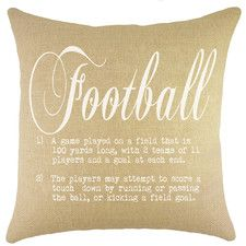 Football decor for the fancy football fan :] Show off your love for the game with our Football Burlap Throw Pillow. #homedecor #wayfair #pretty