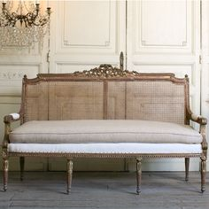 One of a Kind Vintage Settee Cane Weathered Gilt