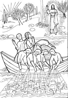 Catholic coloring pages | The miraculous catch of fish coloring pages