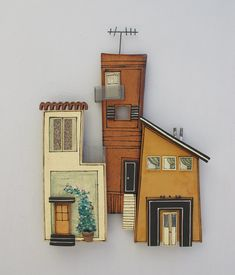 Ceramic Wall Art of Cities Wall Cities Nearby Homes . Clay Houses, Ceramic Houses, Paper Houses, Miniature Houses, Clay Wall Art, Ceramic Wall Art, Clay Art, Diy Art Projects Canvas, Pottery Houses