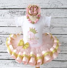 Girls Soft Pink and Gold Royal Princess by ThePinkDaisyBoutique