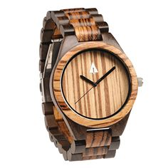 This zebrawood and ebony watch has a genuine wood band, a lavish zebrawood face, and is handmade in San Francisco. Personalized engraving available. Great anniversary, wedding, or just-because gift idea!