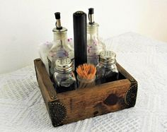 Condiment Holder, Rustic Wooden Caddy, Spanish Tableware, Wood, Antique Effect Wood Box , Rustic Restaurant Table , Catchall