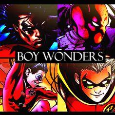 The Boy Wonders - Nightwing / Dick Grayson / 1st Robin, Red Hood / Jason Todd / 2nd Robin, Red Robin (wrong suit) / Tim Drake / 3rd Robin, Robin / Damian Wayne / 4th Robin #Batman