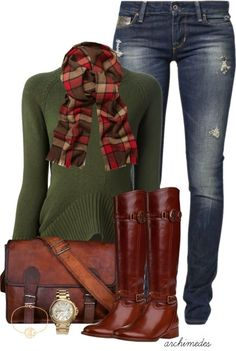 Get Inspired by Fashion: Casual Outfits | Plaid Scarf