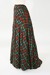 Victorian Plaid Wool Sporting Skirt,  circa 1890s. Dating to the late 1890s, this plaid wool skirt would have been made for the woman who was enjoying a new found freedom to partake in sports, such as golf, skating, and bicycling, previously reserved for men.