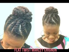 Jumbo Flat Twist Marley Chignon On Natural Hair Read the article here - http://www.blackhairinformation.com/by-type/natural-hair/jumbo-flat-twist-marley-chignon-natural-hair/ #naturalhairstyle