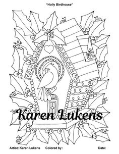 Christmas - Holly Birdhouse, 1 Adult Coloring Book Page,  Christmas Decorations, Karen Lukens
