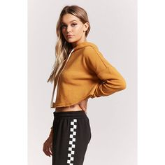 Forever21 Boxy Raw-Cut Cropped Hoodie ($16) ❤ liked on Polyvore featuring tops, hoodies, forever 21 hoodie, cropped hooded sweatshirt, cropped hoodie, boxy crop top and long sleeve hoodies