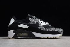 best website bdd37 dd621 Mens Nike Air Max 90 Ultra 2.0 Flyknit Black Wolf Grey White Sneakers-4 Mens
