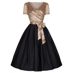 Gina' Glamourous Golden & Black 40's 50's Vintage Tea Party Dress