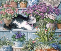 Kitty in Flower Shop- Absolutely love this.  Wish I knew who the artist was. If you know, please comment and let me know.