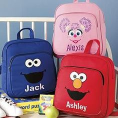 Shop personalized gifts for boys at Personal Creations. Boys gifts like Elmo, Nickelodeon character apparel & accessories. Monster Backpack, Person Cartoon, Elmo Birthday, Birthday Ideas, Nurse Bag, Personalized Backpack, Sesame Street Characters, Personalised Gifts Unique, Sesame Street Birthday