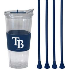 22oz MLB Tampa Bay Rays Straw Tumbler with 4 Colored Replacement Propeller Straws, Multicolor