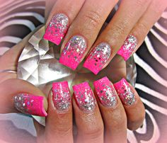 Nail Designs Hot Pink Flower - fashion : hot pink nails with glitter cute 30 awesome acrylic nail Sparkle Acrylic Nails, Pink Glitter Nails, Hot Pink Nails, Pink Nail Art, Silver Nails, Fancy Nails, Trendy Nails, Gel Nails, Silver Glitter