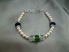 Elegance...Pearl & Crystal Bracelet by damalijewelry on Etsy