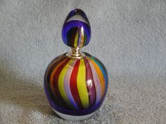 Large Murano Perfume Bottle Rainbow Inspired by SandECollectibles, $69.95
