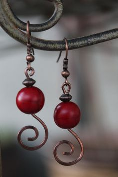 Items similar to wire wrapped jewelry handmade, antique copper wire earrings, red coral earrings on Etsy Wire Wrapped Earrings, Wire Earrings, Heart Jewelry, Metal Jewelry, Antique Copper, Copper Wire, Jewelry Ideas, Jewelry Design, Coral Earrings