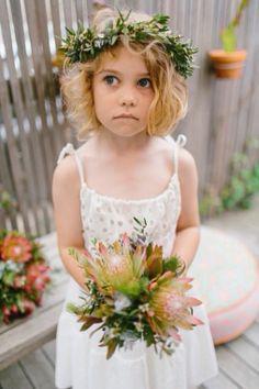 Cute flower girl flowers at Peninsula Wild Flower Wedding Flowers Australian Native Weddings Flower Girls Circlets