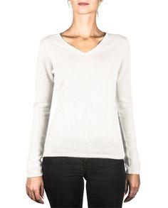 Damen Kaschmir Pullover V-Ausschnitt weiss front Elegant, Blouse, Long Sleeve, Tops, Sleeves, Sweaters, Fashion, Cashmere Sweaters, Women's