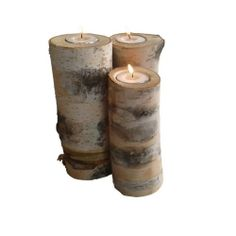 3 Birch logs candle holders www.pinowood.ca - wedding center table Log Candle Holders, Birch Logs, Center Table, Pillar Candles, Wedding, Accessories, Furniture, Birch, Mariage