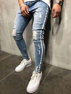 sadness n Mens Distressed Slim Fit Stretchy Skinny Jeans