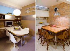 Mesa encostada na parede é sempre uma ótima opção para ganhar espaço. Fotos: Anual Design.