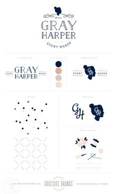 Logo + Brand Design for wedding event designer, Gray Harper - Event Maker Branding by www.GraciousBrands.com