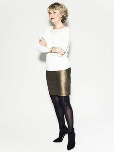 You can't go wrong with a metallic pencil skirt and sweater combo no matter your age!