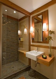 Creative Bathroom Shower Ideas Freshen Up Your Bathroom: Fabulous Craftsman Bathroom With Ceramic Tile And Floating Shelves Also Glass Door Next To Square Sink Under Wall Mounted Lights And Vertical Mirror For Bathroom Shower Ideas ~ franklester.com Bathroom Inspiration